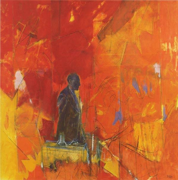 Andare dove? L'uomo con le valige (Collezione CSAC), Olio su tela, 160x160cm,1992