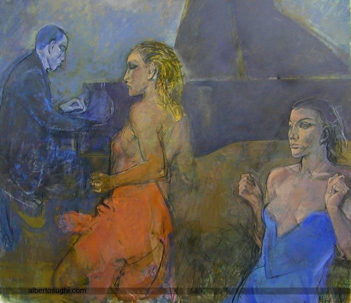 Ragazze e il pianista, le, Olio su tela, 160x140cm, 2004