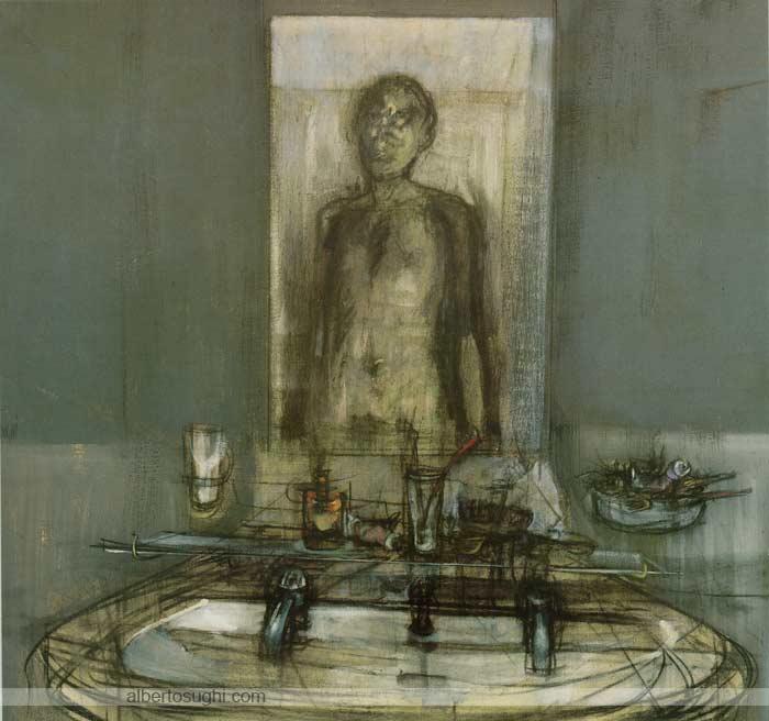 Specchio, lo, Olio e carboncino su tela, 110x120cm, 1963